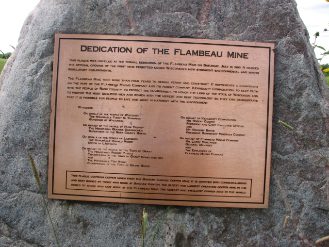 Flambeau Plaque_Newest and Smallest Copper Mine in World