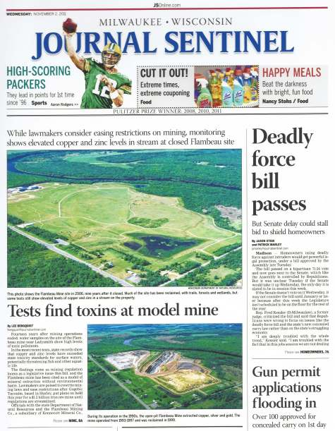 Milwaukee Journal Sentinel_Toxins at Flambeau Model Mine_Nov 2011_P1