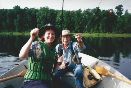 Roscoe Churchill and Laura Gauger have a good day fishing for bluegills (Photo by Greg Furtman of Webster WI, circa 2004).
